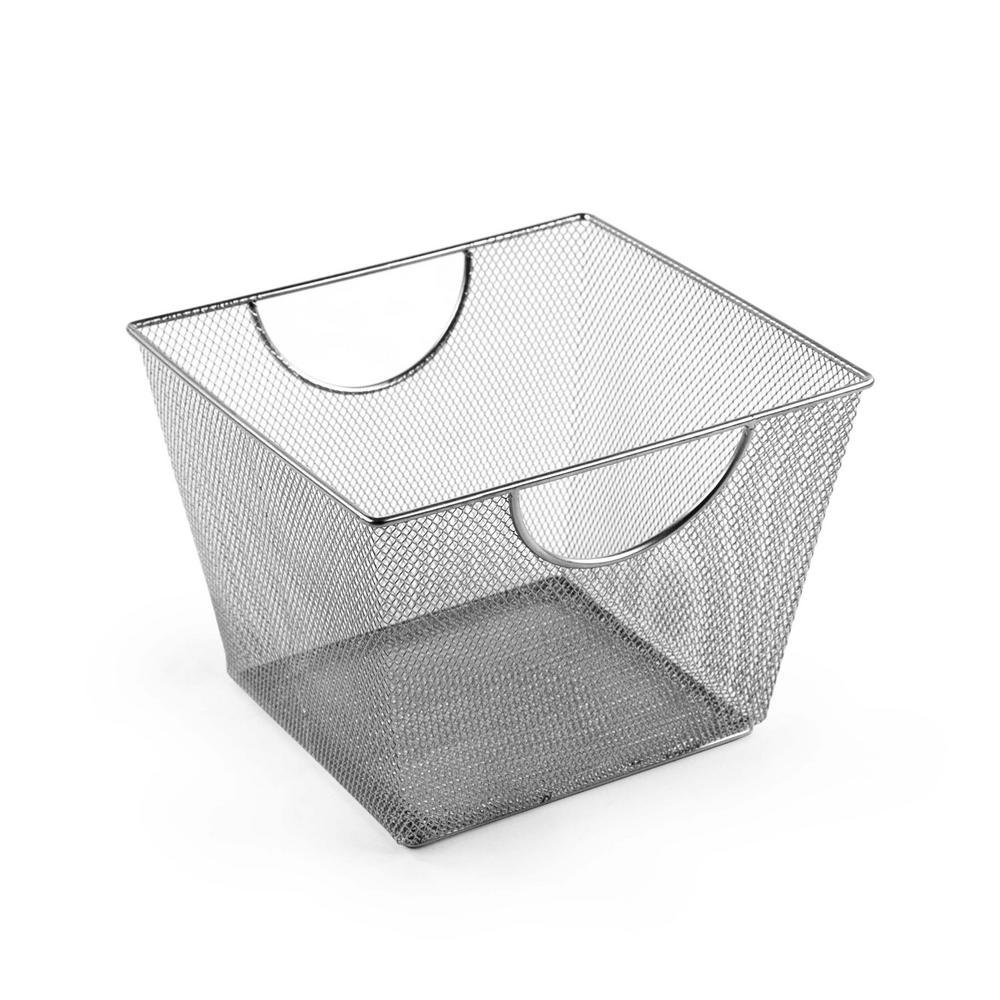 MeshWorks 14 Qt. Mesh Storage Bin In Silver