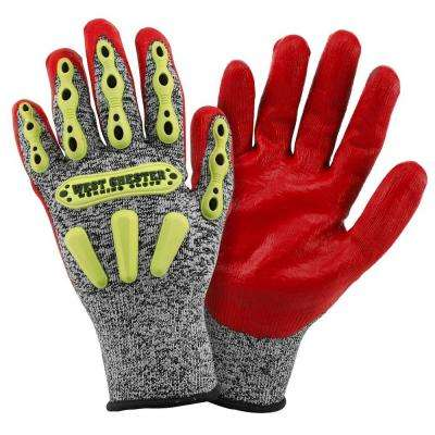 X-Large Grey HPPE Glove with Yellow TPR's and Red Foam
