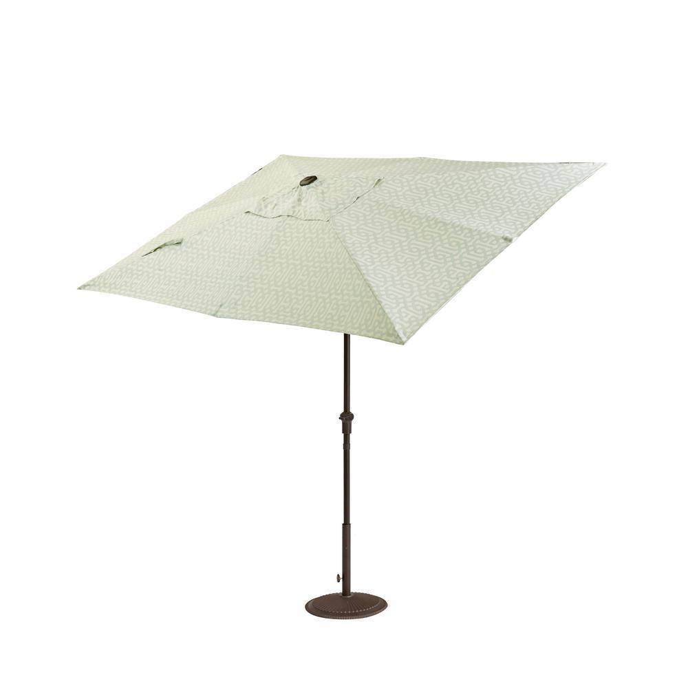 Camden 10 ft. x 6 ft. Aluminum Crank Patio Umbrella in Fretwork Mist