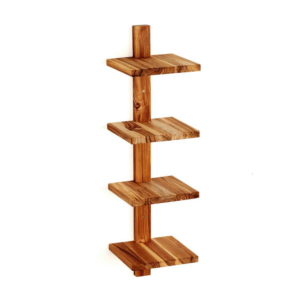Takara Column Shelf 8 in. x 8.5 in. x 33 in. Teak Wood Wall-Mounted Decorative Wall Shelf