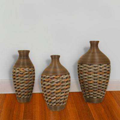 Brown Wicker Vases (Set of 3)