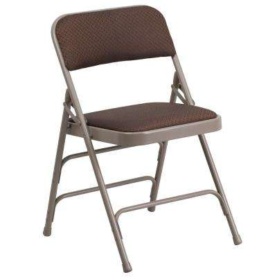 Hercules Series Curved Triple Braced U0026 Double Hinged Brown Patterned Fabric  Upholstered Metal Folding Chair