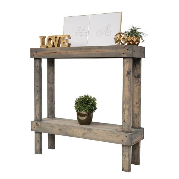 Rustic Luxe Gray Small Sofa Table