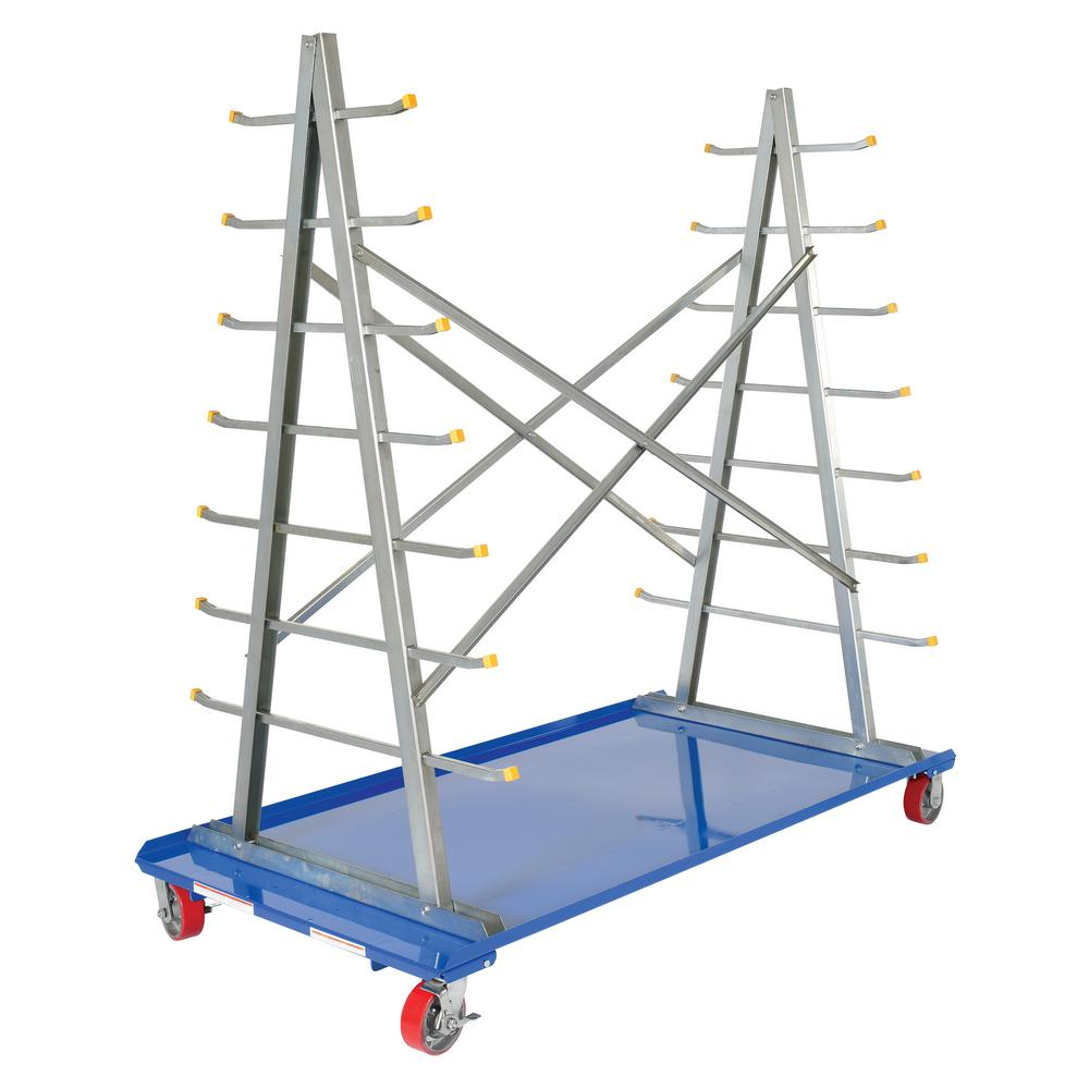 Vestil 36 in. x 72 in. A-Frame Cart with Storage Rack-AFSR-3672 ...