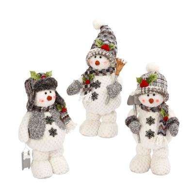 S/3 Asst 16 in. H Plush Snowmen