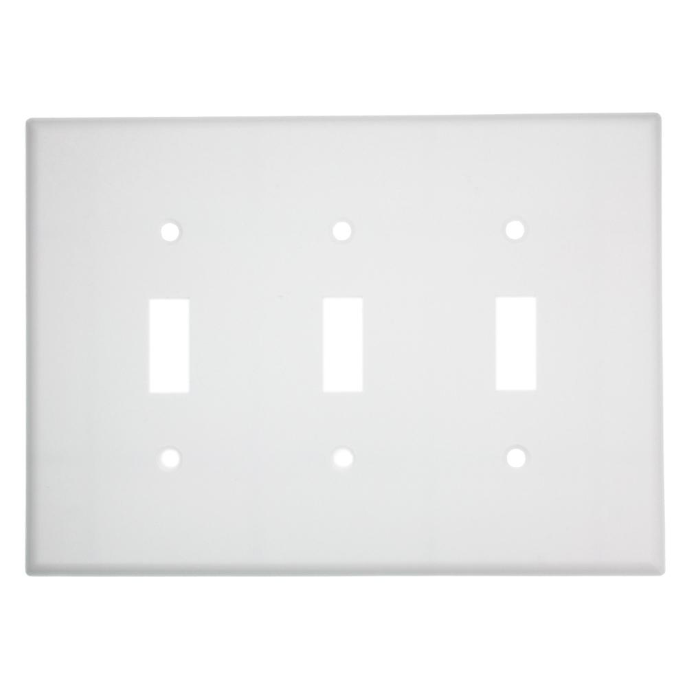 3-Gang Midsize Toggle Switch Wall Plate, White