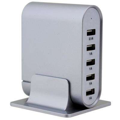 7.1 Amp 5-Port Silver Universal USB Charging Station