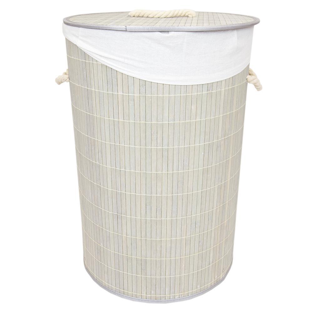43eba020fb2 Home Basics Grey Bamboo Hamper-BH45165 - The Home Depot