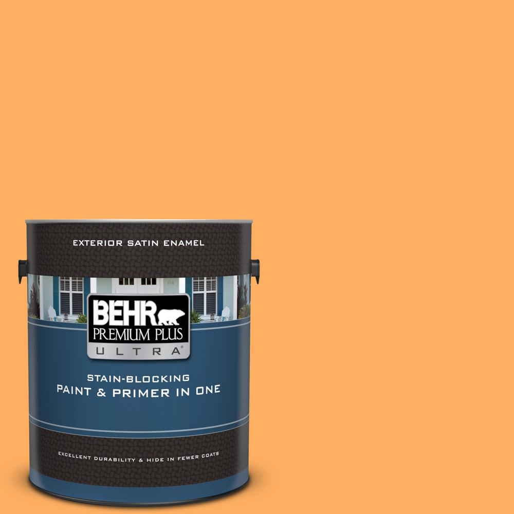 Behr Premium Plus Ultra 1 Gal 280b 5 Vintage Orange Satin Enamel Exterior Paint And Primer In One 985401 The Home Depot