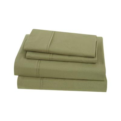 Solid Cotton Percale Olive Green Full Sheet Set