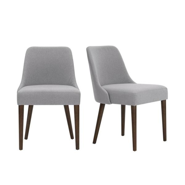 Stylewell Banford Ebony Wood Upholstered Dining Chair With Black Seat Set Of 2 17 91 In W X 34 44 In H Lowe Dc Eb The Home Depot