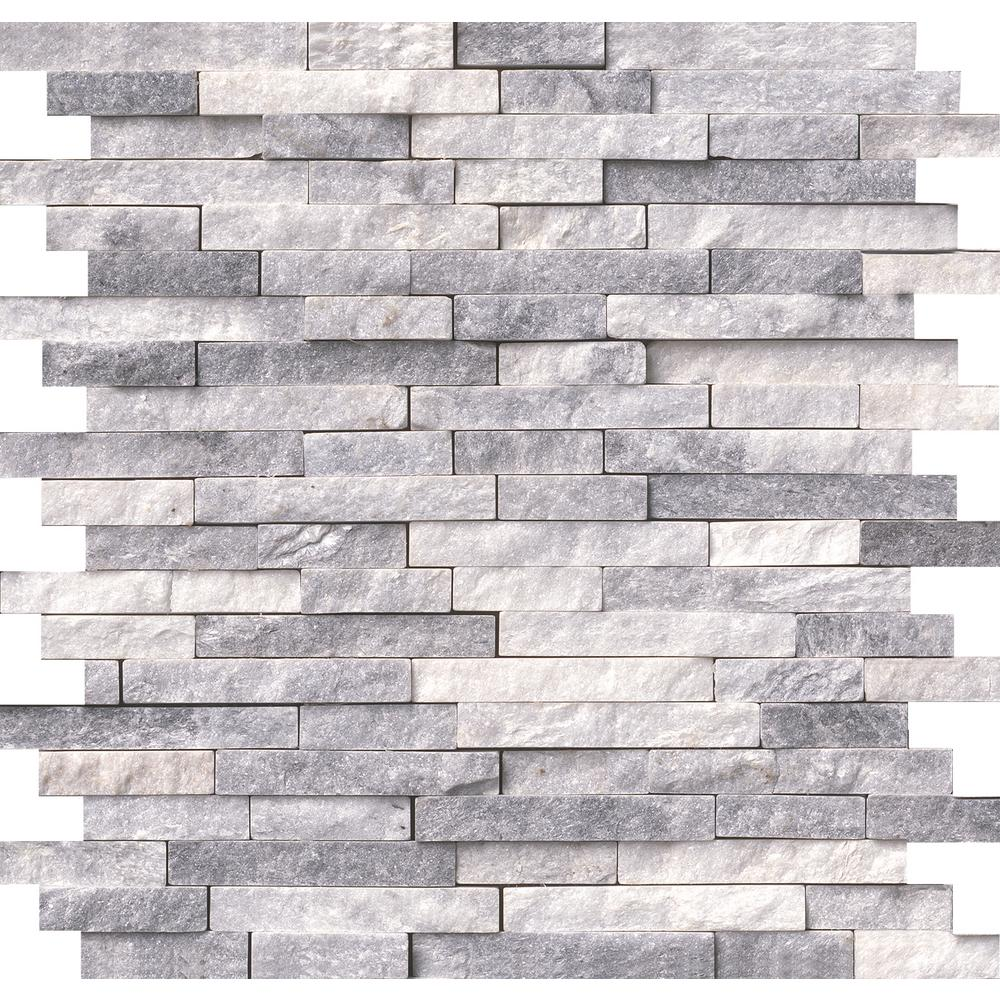 Alaska Gray Splitface 12 In. X 12 In. X 10 Mm Marble Mesh