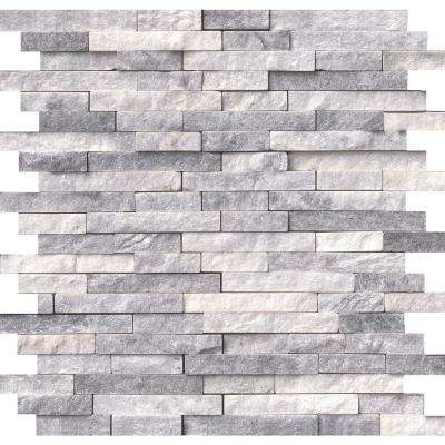 Alaska Gray Splitface 12 in. x 12 in. x 10 mm Marble Mesh-Mounted Mosaic Tile (10 sq. ft. / case)