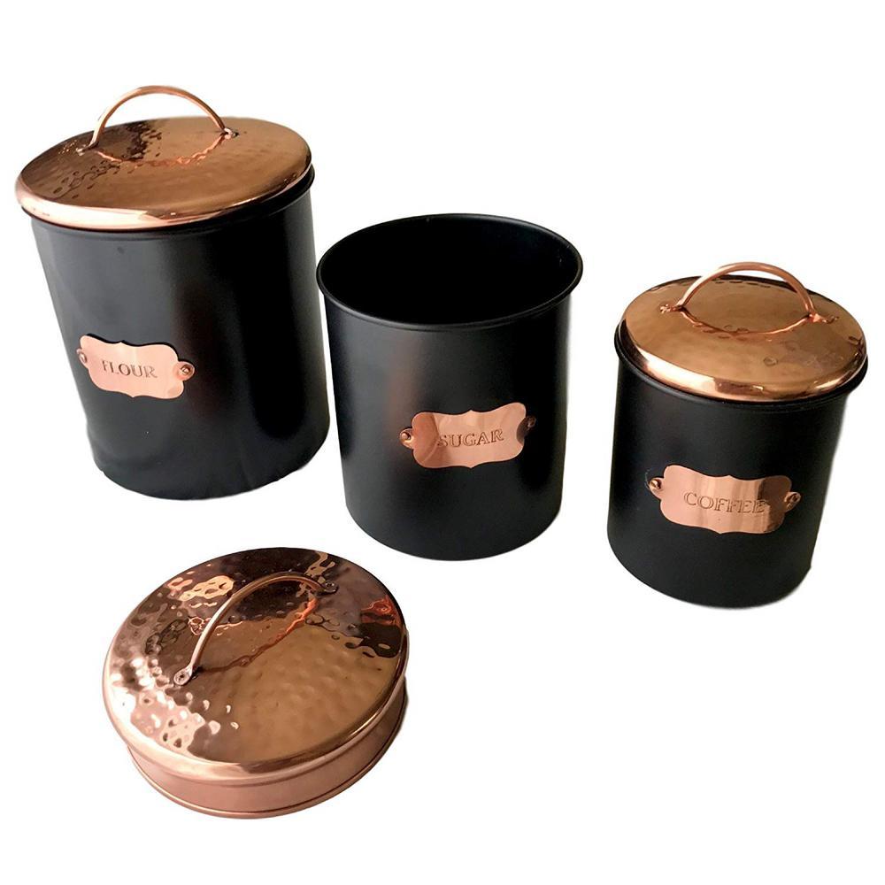 3-Piece Matte Black Food Canister Set with Copper Lids