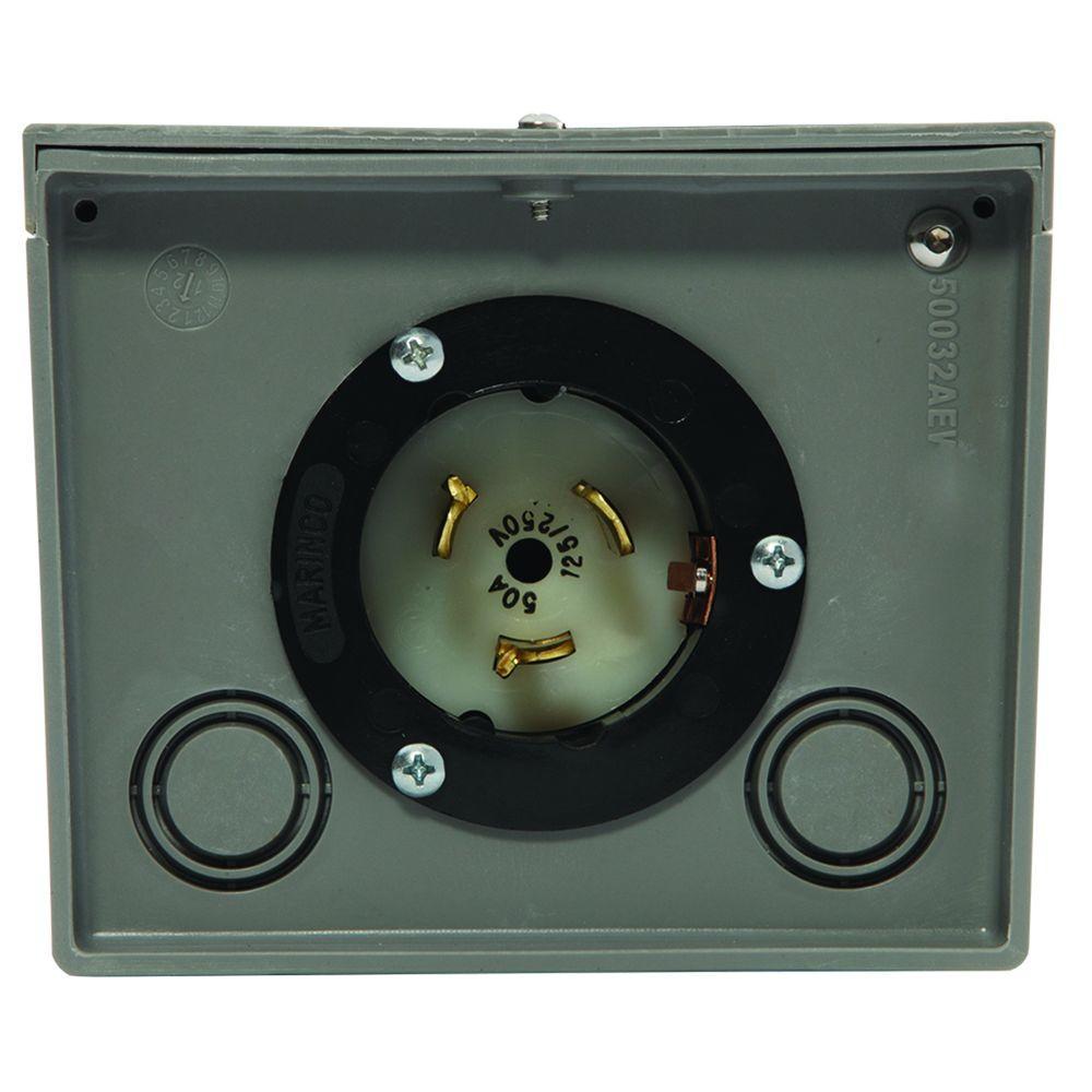 50-Amp Raintight Resin Power Inlet Box
