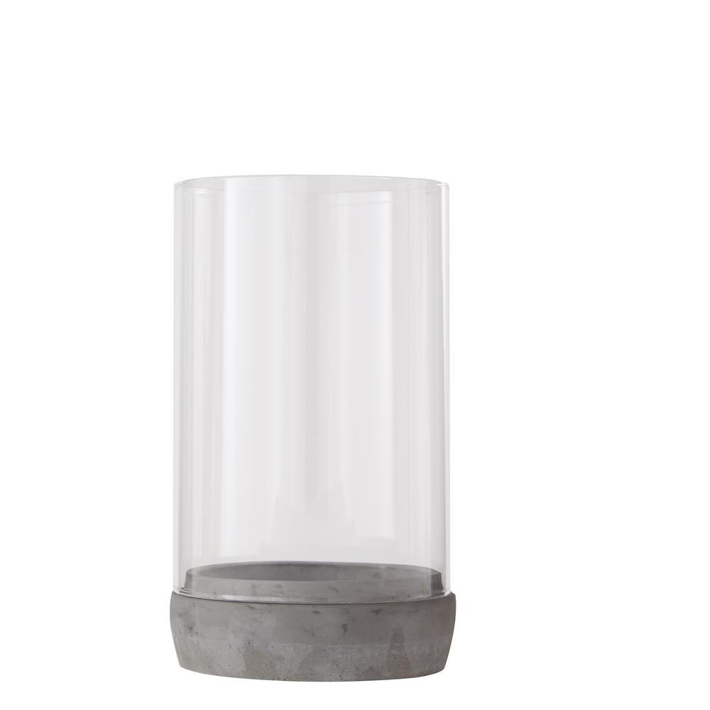 Hampton Bay 9.5 in. H Concrete Base Lantern with Glass Cylinder