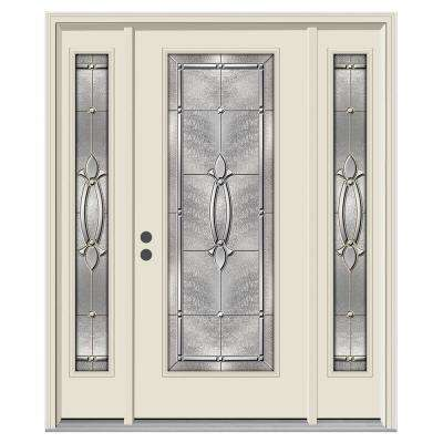 62 in. x 80 in. Full Lite Blakely Primed Steel Prehung Right-Hand Inswing Front Door with Sidelites