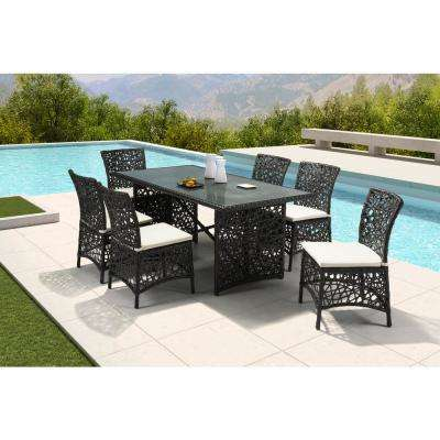Santa Cruz Stationary Aluminum Outdoor Dining Chair with Beige Cushion