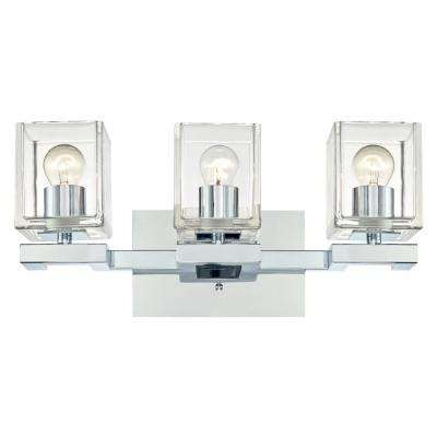 Nyle 3-Light Chrome Wall Mount Bath Light