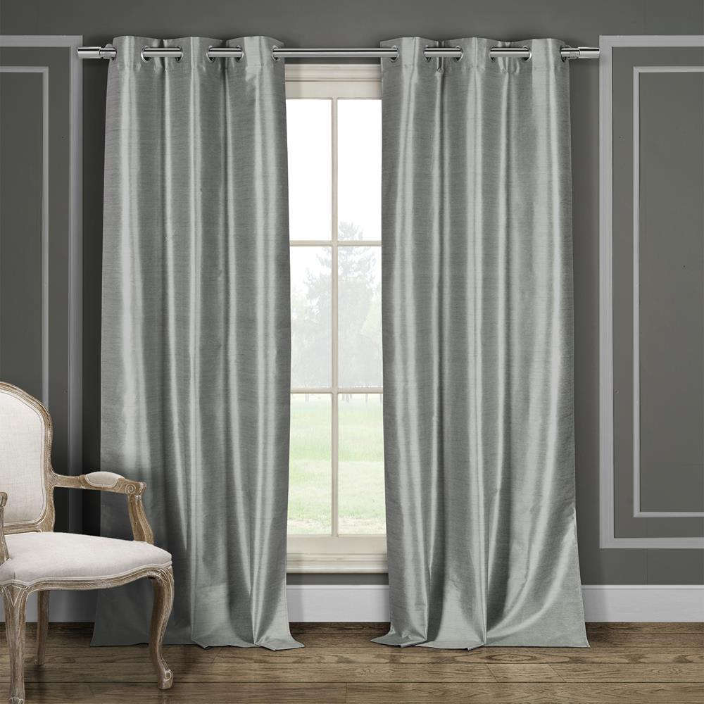 Duck River Daenerys 38 in. x 96 in. L Polyester Faux Silk Curtain Panel in Grey (2-Pack)