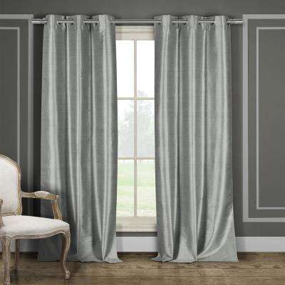 Daenerys 38 in. x 96 in. L Polyester Faux Silk Curtain Panel in Grey (2-Pack)