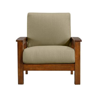 Omaha Mission Style Arm Chair with Exposed Cherry Wood Frame in Barley Tan Linen