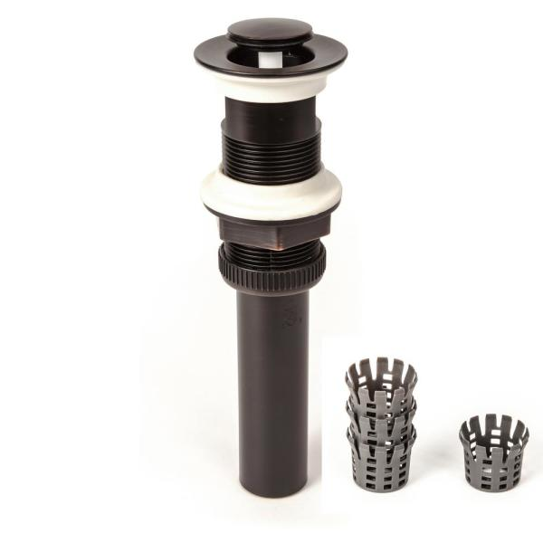 DecoDRAIN Hair Catcher Push Pop-Up Sink Drain without Overflow in Oil Rubbed Bronze, Cap Dia 1.3 in.