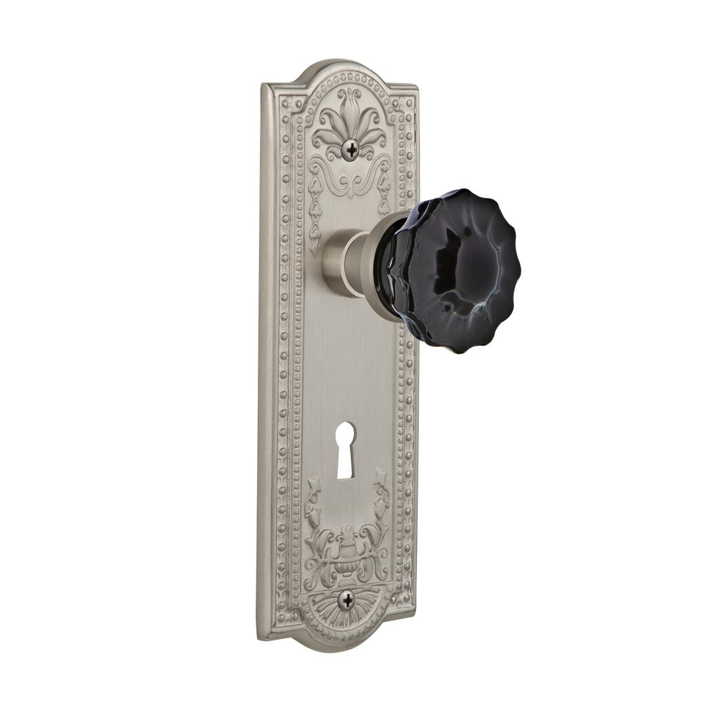 Meadows Plate Interior Mortise Crystal Black Glass Door Knob In Satin