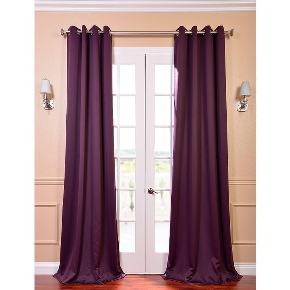 Semi-Opaque Aubergine Purple Grommet Blackout Curtain - 50 in. W x 120 in. L (Panel)