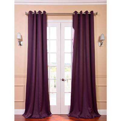 Semi-Opaque Aubergine Purple Grommet Blackout Curtain - 50 in. W x 120 in. L (Pair)