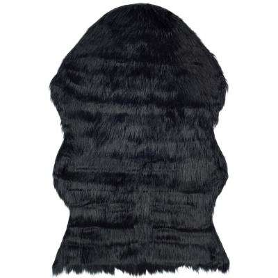 Faux Sheep Skin Black 3 ft. x 5 ft. Area Rug