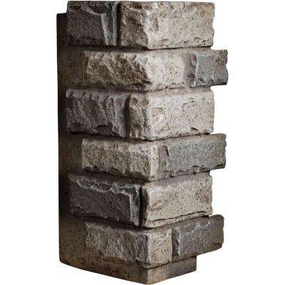 1-1/2 in. x 12-1/2 in. x 25 in. Platinum Urethane Cut Coarse Random Rock Outer Corner Wall Panel