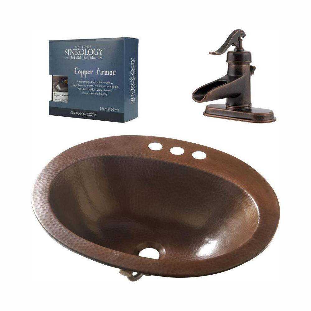 SINKOLOGY Pfister All-In-One Seville Copper Drop-In Bathroom Sink Design Kit with Ashfield 4 in. Centerset Faucet in Rustic Bronze