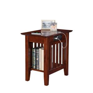 Atlantic Furniture Mission Walnut Chair Side Table With Charging Station