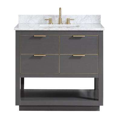 Allie 37 in. W x 22 in. D Bath Vanity in Gray with Gold Trim with Marble Vanity Top in Carrara White with Basin