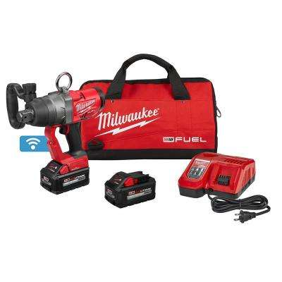 M18 FUEL ONE-KEY 18-Volt Lithium-Ion Brushless Cordless 1 in. Impact Wrench with Friction Ring and Two 8.0 Ah Batteries