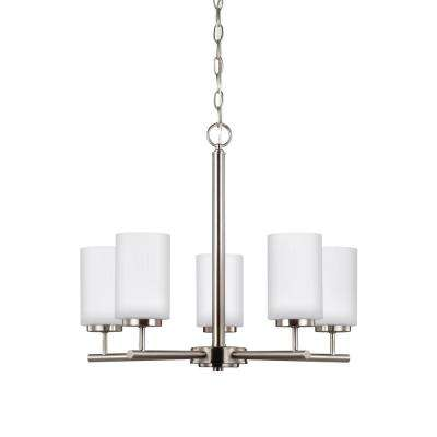 Oslo 5-Light Brushed Nickel Chandelier with LED Bulbs