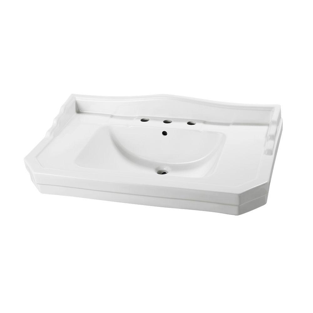 Pedestal Sink Basin In White