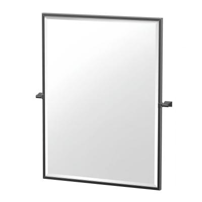 Bleu 24.5 in. W x 32.5 in. H Framed Rectangular Beveled Edge Bathroom Vanity Mirror in Matte Black