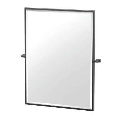 Bleu 27.5 in. x 32.5 in. Framed Rectangle Mirror in Matte Black
