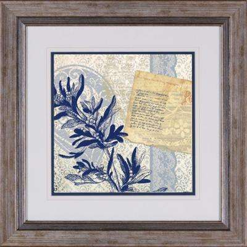 "17 in. x 17 in. ""Postcard Bleu B"" Framed Wall Art"