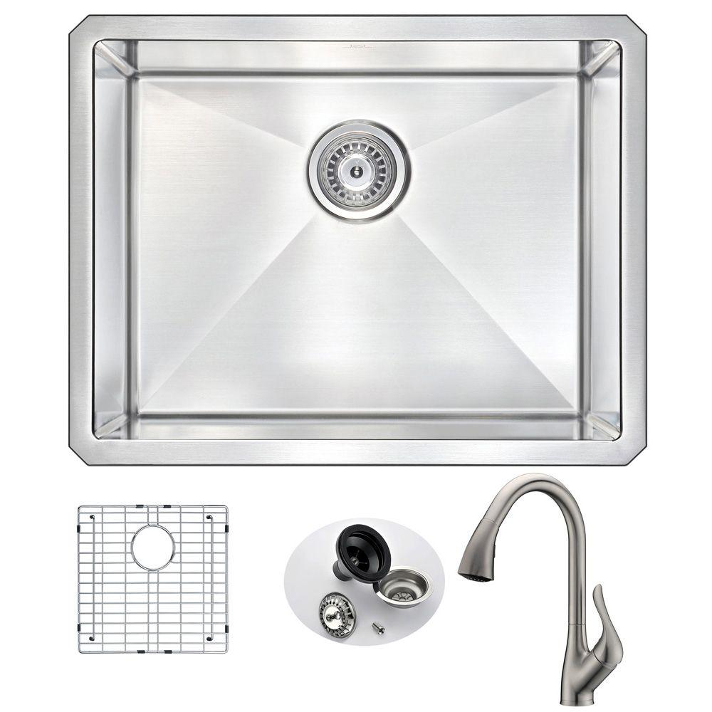 Anzzi Vanguard Undermount Stainless Steel 23 In Single Bowl Kitchen