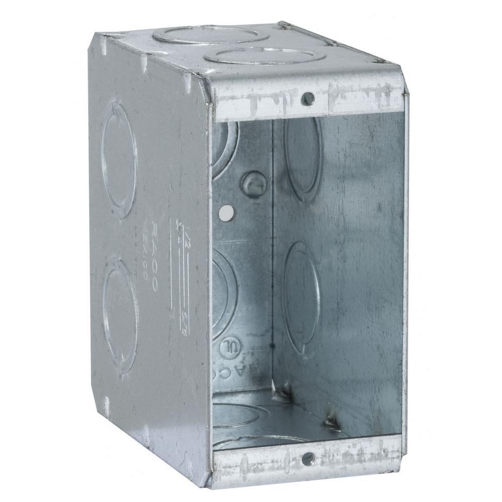 1-Gang Non-Gangable Masonry Box with Ten Concentric KOs and 3-1/2 in. Deep