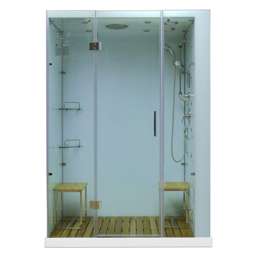 Steam Planet Orion Plus 59 in. x 40 in. x 86 in. Steam Shower Enclosure in White