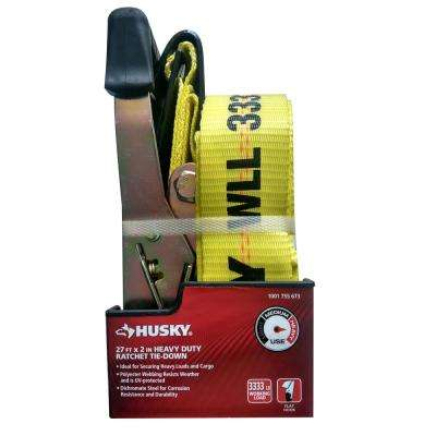 2 in. x 27 ft. Heavy Duty Ratchet Tie-Down with Flat Hooks