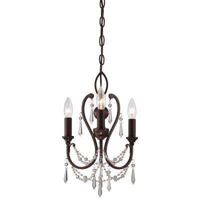 3-Light Vintage Bronze Mini Chandelier