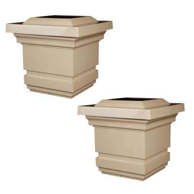 Classy 4 in. x 4 in. Outdoor Tan Vinyl LED Solar Post Cap (2-Pack)