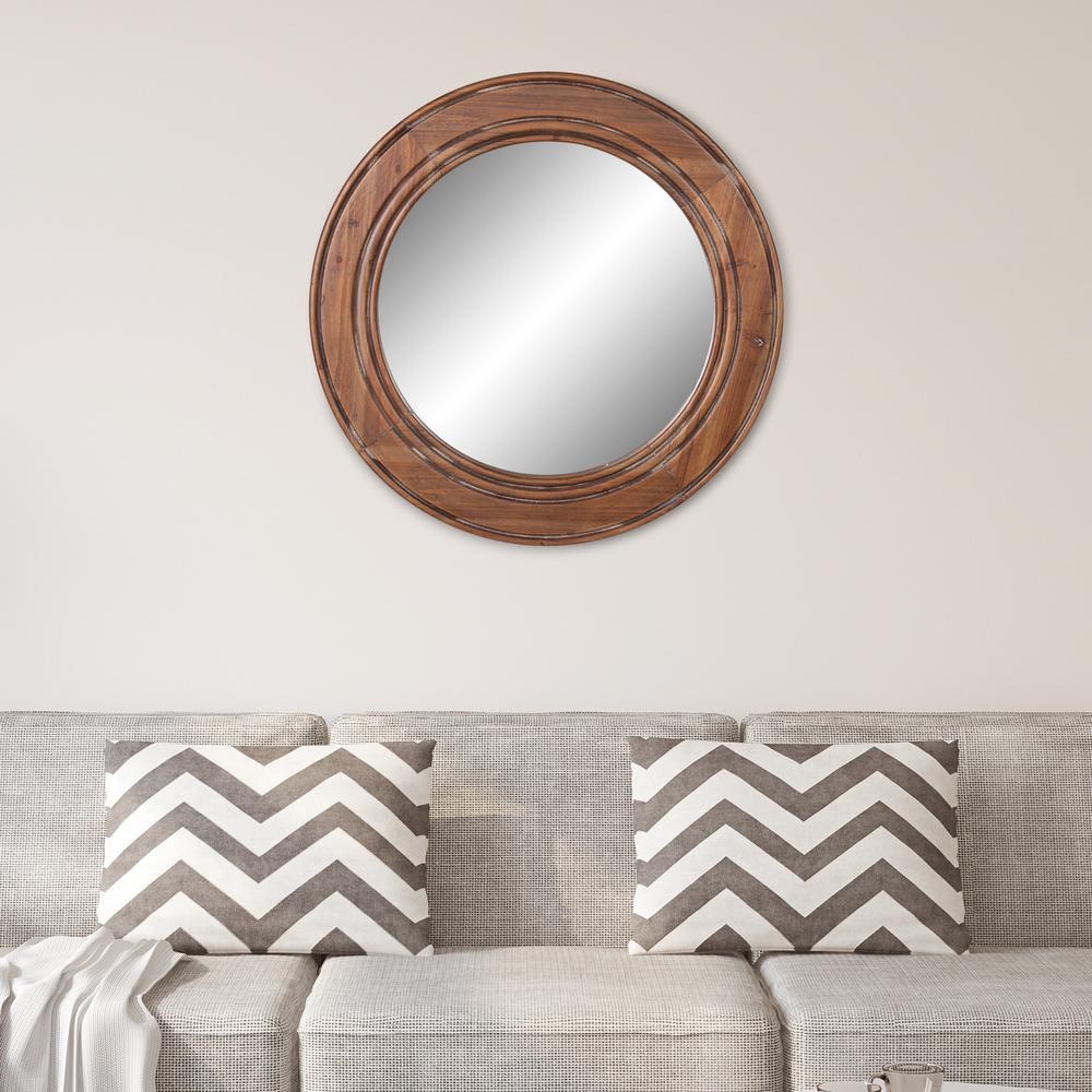 Patton Round Brown Decorative Mirror