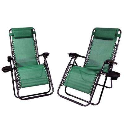 Zero Gravity Forest Green Lawn Chairs with Pillow and Cup Holder (2-Set)