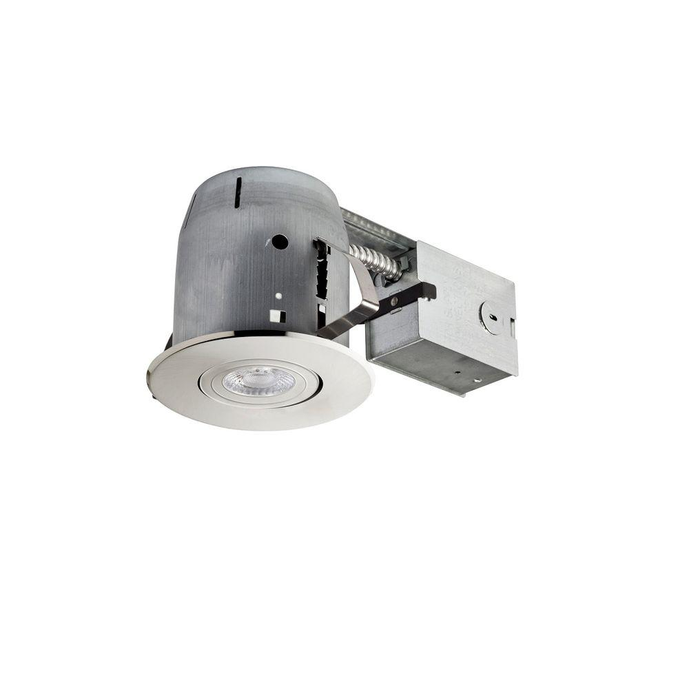 4 in. Brushed Nickel LED Swivel Spotlight Recessed Lighting Kit Dimmable